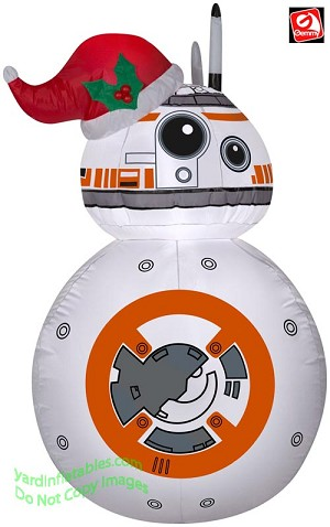 3 1/2' Airblown Inflatable Star Wars BB-8 Wearing A Santa Hat