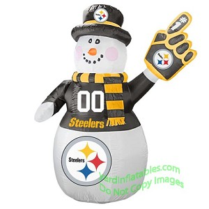 7' Air Blown Inflatable STEELERS Snowman