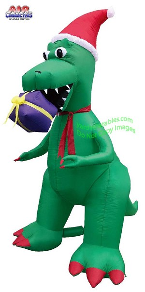 7' Air Blown T-Rex Biting A Present
