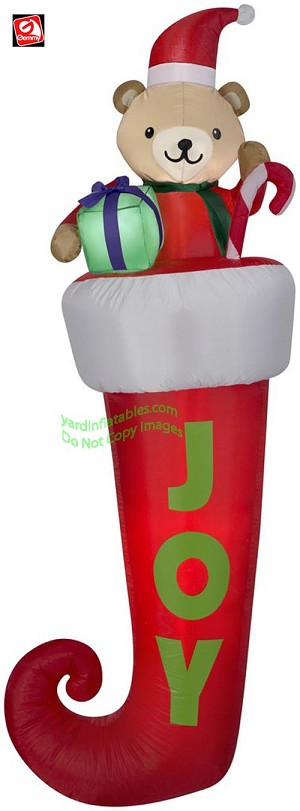 "7' ""JOY"" Teddy Bear Stocking Hanging From Gutter"