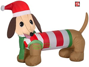 4' Gemmy Airblown Inflatable Weiner Dog in Winter Outfit