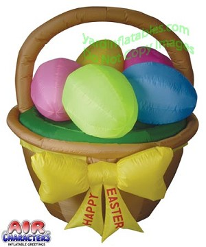 5' Air Blown Inflatable Easter Basket With 5 Easter Eggs