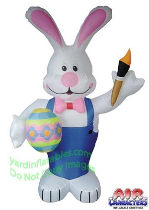 7' Standing Bunny Holding Egg And Paint Brush