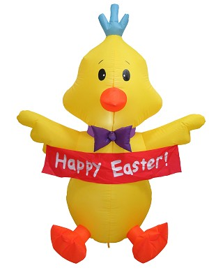 "5' Air Blown Inflatable Easter Chick Holding ""Happy Easter"" Banner"