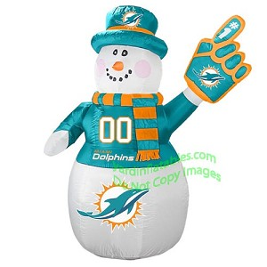 7' Air Blown Inflatable NFL Miami Dolphins Snowman