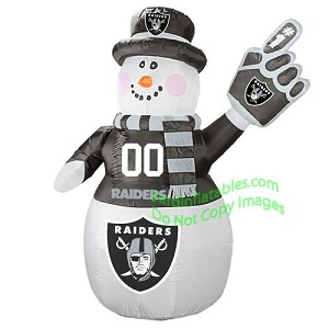 7' Air Blown Inflatable NFL Oakland RAIDERS Snowman