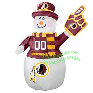 7' Air Blown Inflatable NFL Washington REDSKINS Snowman