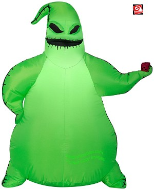 3 1/2' Gemmy Airblown Inflatable Nightmare Before Christmas Oogie Boogie Holding Dice
