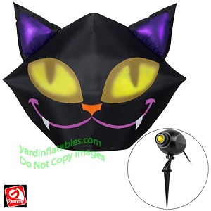 5' Airblown Projection Inflatable Smiling Black Cat