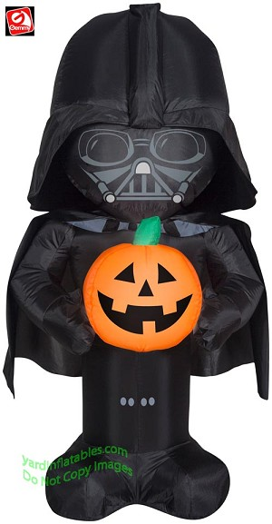3 1/2' Airblown Inflatable Darth Vader Holding A Pumpkin