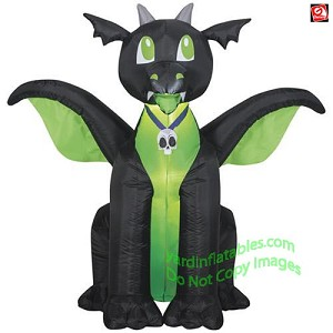 5' Gemmy Airblown Inflatable Black & Green Baby Dragon