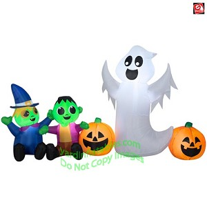 8' Gemmy Airblown Inflatable Halloween Ghost, Monster, Witch, and Pumpkin Scene