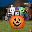 5' Gemmy Airblown Inflatable Monster, Ghost, Witch In Pumpkin Scene