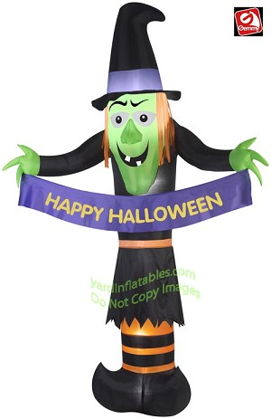 "12' Witch Holding ""Happy Halloween"" Banner"
