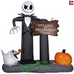 "6' Gemmy Airblown Inflatable Jack Skellington & Zero ""Welcome To Halloween Town"" Sign"