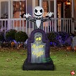 "6' Gemmy Airblown Animated Inflatable Jack Skellington ""Master of Fright"" Tombstone"