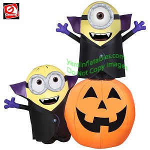 6' Dracula Minions With Pumpkin Scene