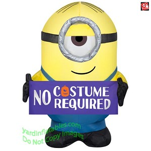 "3 1/2' Gemmy Airblown Inflatable Halloween Minion Stuart Holding ""No Costumes Required"" Sign"