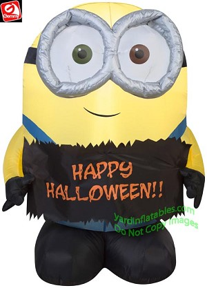 3' Gemmy Airblown Inflatable Minion Bob Holding Happy Halloween Sign