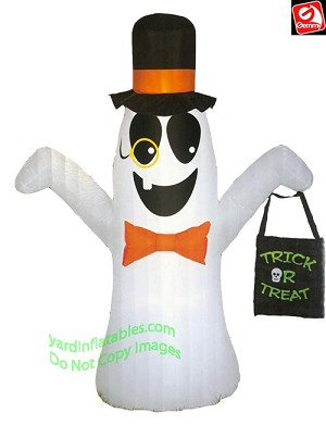 7' Airblown Inflatable Ghost w/ Monocle Holding A Treat Bag