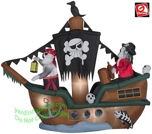 10' Animated Skeleton Halloween Pirate Ship