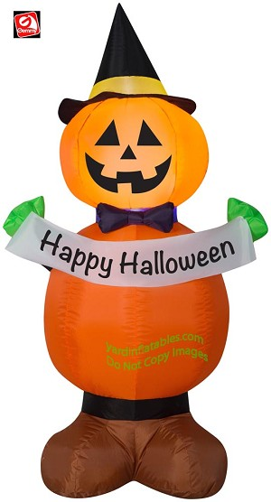 "4' Gemmy Airblown Inflatable Jack Stack Pumpkin Witch Holding ""Happy Halloween"" Banner"