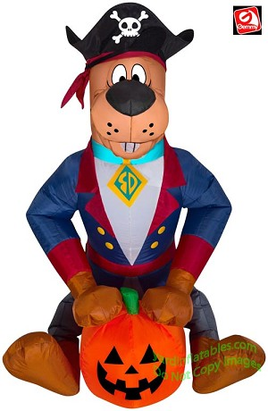 3' Gemmy Airblown Inflatable Halloween Scooby Doo Dressed As Pirate