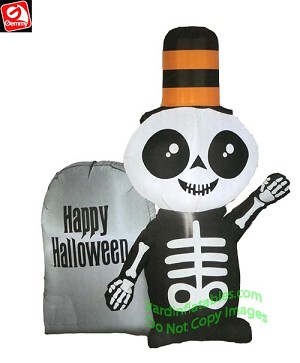 4' Airblown Inflatable Skeleton w/ Happy Halloween Tombstone
