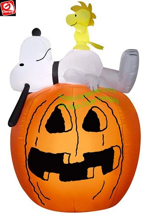 4' Snoopy Laying On Pumpkin w/ Woodstock