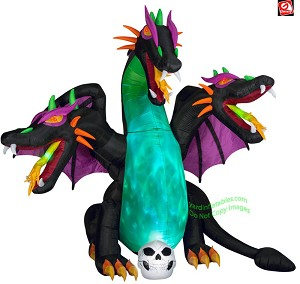 10' Airblown Animated Inflatable Fire & Ice Three Headed Dragon