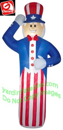 Gemmy Airblown Inflatable 12' Patriotic Uncle Sam Saluting