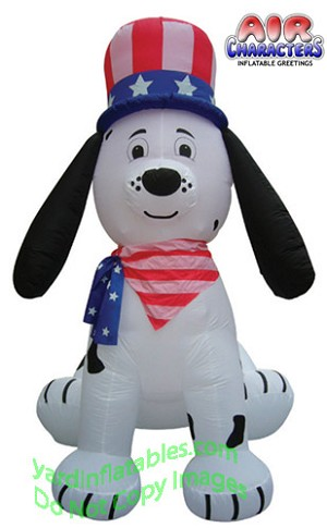 8' Air Blown Inflatable Patriotic Puppy Dog