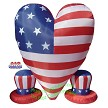Patriotic Heart With 2 Small Hats
