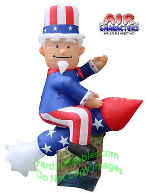 8' Air Blown Inflatable Uncle Sam on Rocket