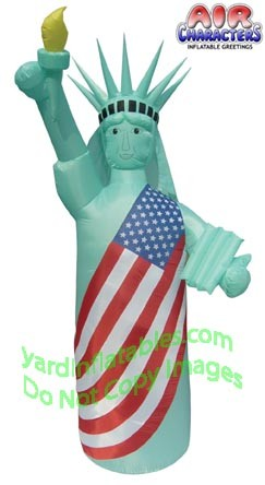 8' Air Blown Inflatable Patriotic Statue Of Liberty GREEN COLOR