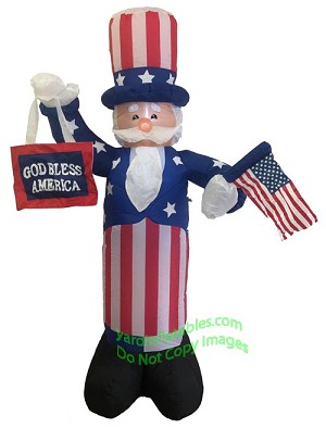"6' Uncle Sam Holding Flag & ""God Bless America"" Sign"