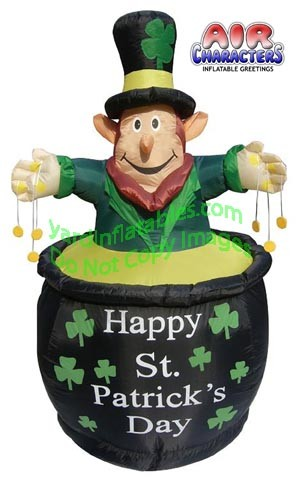 6' Inflatable Leprechaun In Pot With Coins