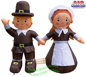 4 1/2' Air Blown Inflatable Thanksgiving Pilgrim Boy & Girl COMBO