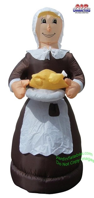 "6' 9"" Thanksgiving Pilgrim Woman Holding Turkey"