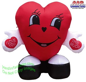 "5' Air Blown Inflatable Valentine's Day ""Love You This Much"" Heart"