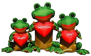 8' Air Blown Inflatable Valentine's Day 3 Frogs w/ Hearts