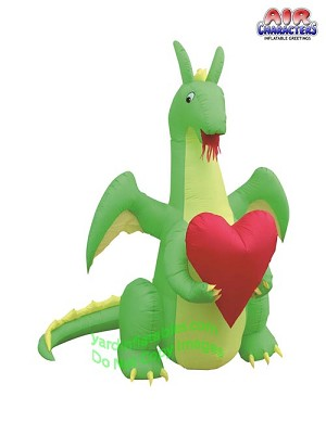 6' Air Blown Inflatable Valentine's Day Dragon Holding Heart